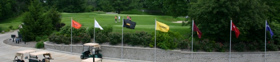 Vast Forest Akers Golf Course with beautiful greenery big ten flags golf carts and free parking